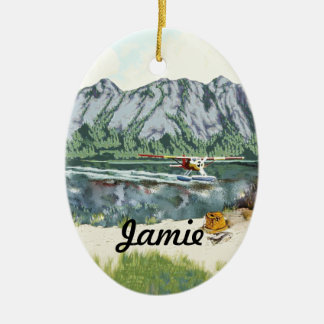 Personalized First Fishing Trip Ceramic Oval Decoration