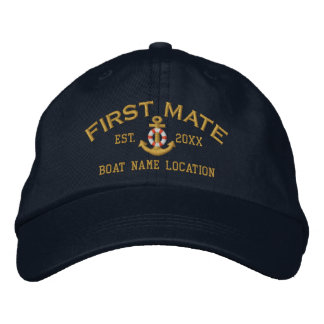 Personalized First Mate YEAR and Names Lifesaver Embroidered Hat