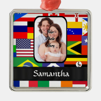 Personalized flags of the world christmas tree ornament