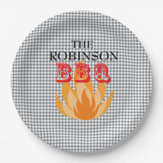 Personalized flames BBQ  Paper Plates