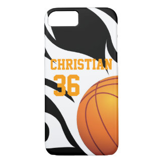 Personalized Flaming Basketball B/W iPhone 7 Case