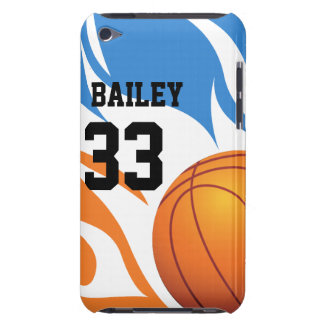 Personalized Flaming Basketball Blue and Orange iPod Touch Cases