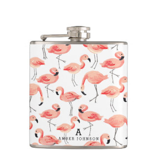 Personalized Flamingo Hip Flasks