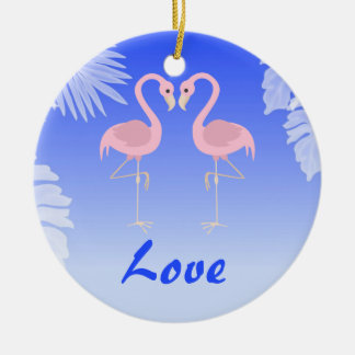 Personalized Flamingo Tropical Beach Love Ornament