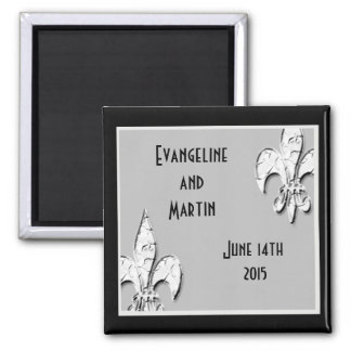 Personalized Fleur de Lis Black and Silver Magnet