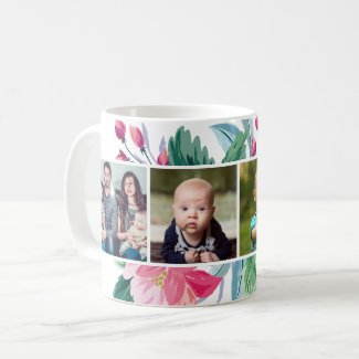 Personalized Floral 4 Photo Coffee Mug