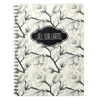 Personalized Floral Black and White Pattern Notebooks