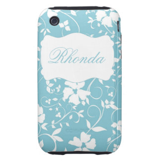 Personalized Floral Blue and White iPhone 3 Tough Cover