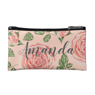 Personalized floral cosmetic bag. Bridesmaid gift Makeup Bag