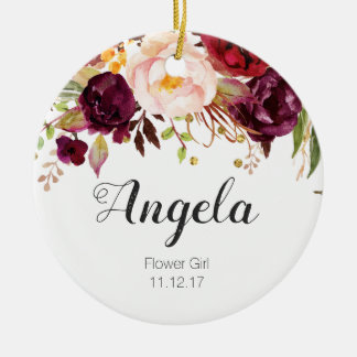 Personalized Floral Flower Girl Christmas Ornament
