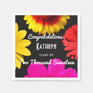Personalized Floral Graduation Disposable Serviette