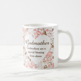 Personalized Floral Heart Godmother Coffee Mug