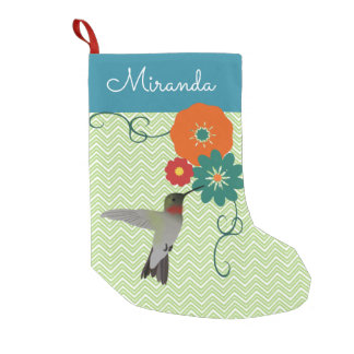 Personalized Floral Hummingbird Small Christmas Stocking