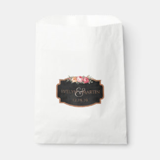 Personalized Floral Monogram Chalkboard Wedding Favour Bags