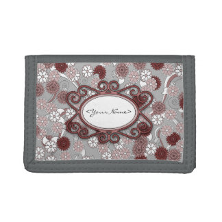 Personalized Floral Pattern in Pink and Maroon Trifold Wallet
