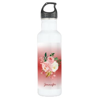 Personalized Floral Peonies Chic Red & White Ombre 710 Ml Water Bottle