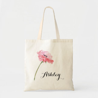 Personalized Floral Peony Tote Bag