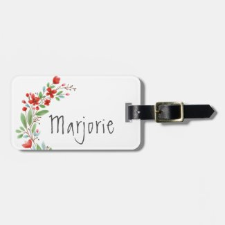 Personalized Floral Red and Green Watercolor Luggage Tag