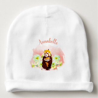 Personalized Floral Red Panda Baby Cotton Beanie Baby Beanie