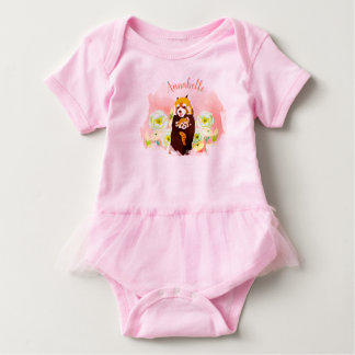 Personalized Floral Red Panda Baby Tutu Bodysuit