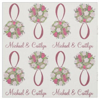 Personalized Floral Rose Bouquet Wedding Fabric