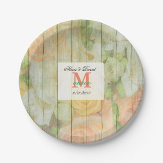 Personalized Floral Rustic Wood Wedding Plates 7 Inch Paper Plate