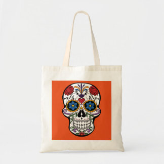 Personalized Floral Sugar Skull Halloween Tote Bag