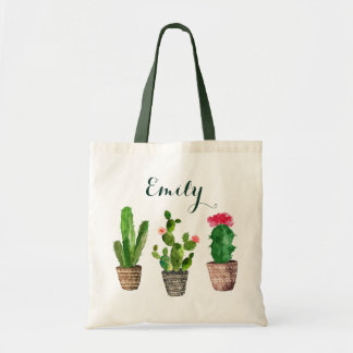 Personalized Floral Tote Bag Cactus