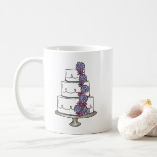 Personalized Floral Wedding Cake Bridal Shower Coffee Mug