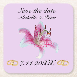 """Personalized Floral Wedding """"Save The Date"""" Square Paper Coaster"""