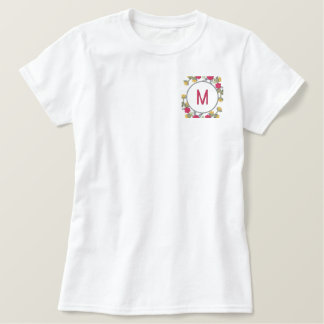 Personalized Floral Wreath Monogram Embroidered Ladies Polo