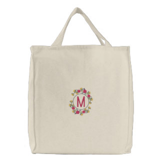 Personalized Floral Wreath Monogram Embroidered Tote Bag