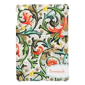 Personalized Floral Yellow Aqua Damask iPad Mini Case For The iPad Mini