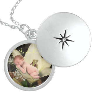 Personalized Flower Baby Round Locket Necklace