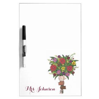 Personalized Flower Bouquet School Teacher Gift Dry Erase Board