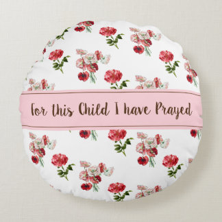 Personalized Flower Print Round Pillow