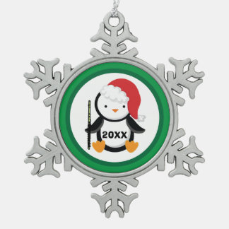 Personalized Flute Christmas Penguin Snowflake Pewter Christmas Ornament