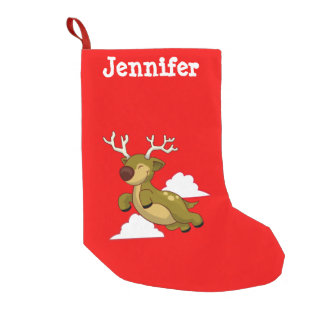 Personalized Flying Christmas Reindeer Small Christmas Stocking