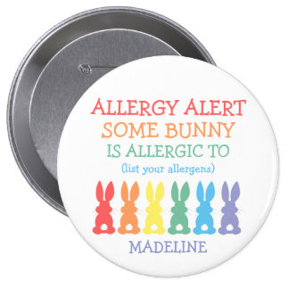 Personalized Food Allergy Alert Easter Bunny Kids 10 Cm Round Badge