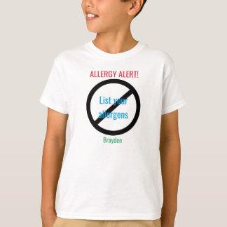 Personalized Food Allergy Alert Kids NO Symbol T-Shirt