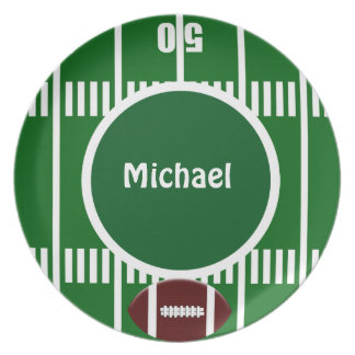 Personalized Football 50 Yard Line Plate