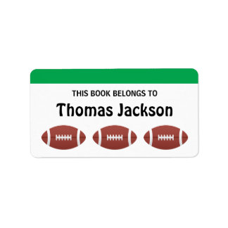 Personalized football cartoon bookplates for kids address label