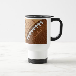Personalized Football Coach Gifts, His NAME Stainless Steel Travel Mug