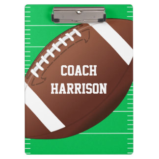 Personalized Football Fan Sports Coach Clipboard