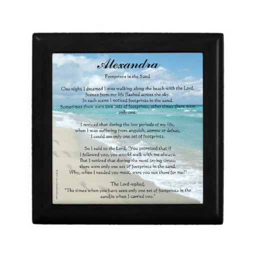 Personalized Footprints in the Sand Prayer Box Keepsake Boxes