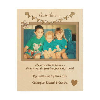 Personalized for grandparents Photo bunting Wood Print