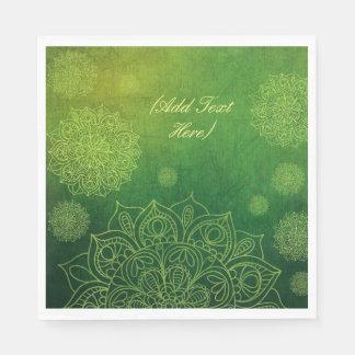 Personalized Forest Green Mandala Napkins Disposable Serviette