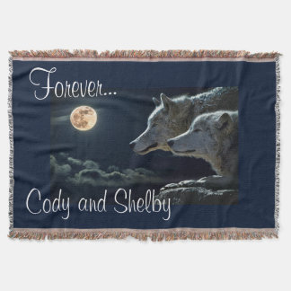 """Personalized """"Forever"""" & Two Grey Wolves Throw Blanket"""