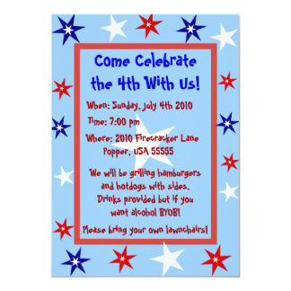 Personalized Fourth of July Party Invite