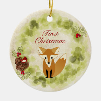 Personalized Fox and Wreath Baby's First Christmas Christmas Ornament